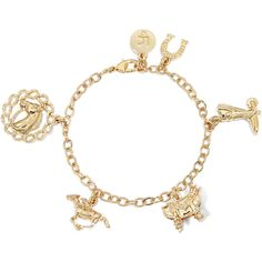 Liz Claiborne Gold-Tone Cowboy Charm Bracelet ($24) ❤ liked on Polyvore featuring jewelry, bracelets, accessories, country, gold tone jewelry, cowgirl charm bracelet, charm bracelet, western charm bracelet and chains jewelry