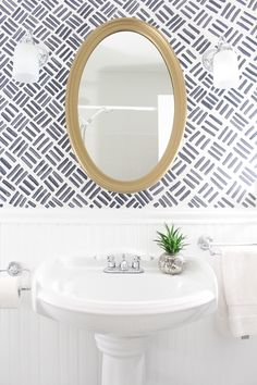 Bathroom Makeover {The Full Before & After} with free handed wallpaper look paint.Small Bathroom Makeover {The Full Before & After} with free handed wallpaper look paint. Wallpaper Accent Wall Bathroom, Powder Room Wallpaper, Painting Wallpaper, Of Wallpaper, Trendy Wallpaper, Geometric Wallpaper, Wallpaper Ideas, Hand Painted Wallpaper, Wainscoting Bathroom