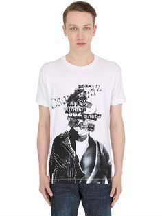 DSQUARED2 Collage Printed Cotton Jersey T-Shirt, White. #dsquared2 #cloth #t-shirts