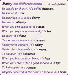 Vocabulary: Money has different names