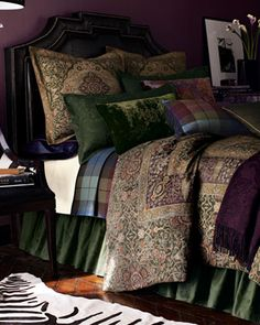√ -- Rutherford Park Bed Linens by Ralph Lauren -- My master bedroom bedding. Walls painted Sherwin-Williams Exclusive Plum (color of the year) and woodwork painted SW Believable Buff. LOVE it!