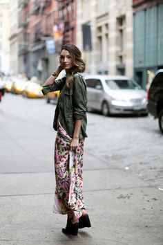 military jacket or shirt with maxi dress