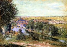 View of Moret Artist: Alfred Sisley Completion Date: 1880 Style: Impressionism Genre: landscape Technique: oil Material: canvas Dimensions: 38 x 55 cm Gallery: Private Collection Tags: houses-and-buildings, forests-and-trees
