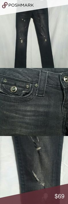 NWOT True Religion straight jeans Black, distressed wear down the front, buttons and gems are a green crystal shade, 31 inches inseam.  Please ask any and all questions before purchasing this item True Religion Jeans Straight Leg