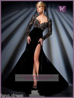 Black Long Sleeve Prom Dresses Beaded Evening Party Dresses Formal Gowns | eBay