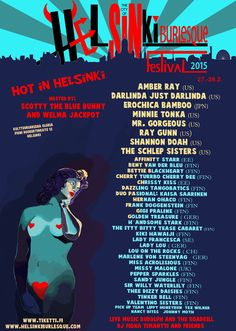 Helsinki Burlesque Festival 2015 Burlesque Festival, Blue Bunny, Helsinki, Sisters, Comic Books, Comics, Movie Posters, Film Poster, Cartoons