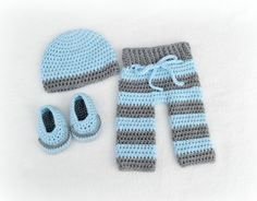 Crochet Baby Beanie Pants and Loafers 3 by littlebuttercupbaby, $60.00