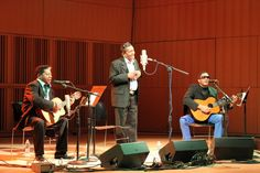 """Two Classic Bachateros - Edilio Paredes, Ramon Cordero, and Silo """"Jeremias"""" Jimenez perform at CUNY Graduate Center in Manhattan on October 24, 2012 (Photo: Bruce Wallace)"""