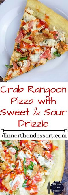 """This Crab Wonton Pizza with Sweet & Sour Drizzle is the answer to """"Pizza or Chinese? Crunchy, creamy, sweet and sour you'll find yourselv(Chinese Seafood Recipes) Seafood Pizza, Seafood Dishes, Seafood Recipes, Dinner Recipes, Cooking Recipes, Seafood Gumbo, Paleo Dinner, Cooking Ideas, Pizza Rustica"""