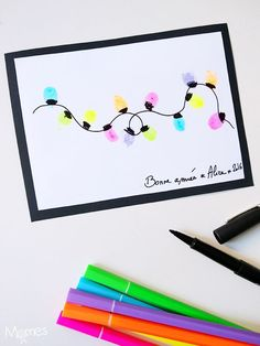 Bricolage du Nouvel An : Carte de voeux avec des empreintes de doigts, un joli DIY de carte de voeux !