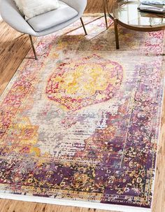 Bungalow Rose Lonerock Purple/Pink/Yellow Area Rug Rug Size: Runner x Orange Couch, Orange Carpet, Dark Carpet, Yellow Area Rugs, Pink Rugs, Buy Rugs, Carpet Design, Rugs Online, Carpet Runner