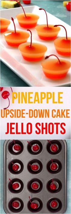 Get jiggly with it at your next party and bring out these stacked pineapple upside-down cake jello shots. (No plastic cups -- these are made in a muffin tin!) food and drink Summer Drinks, Fun Drinks, Alcoholic Drinks, Cocktails, Summer Jello Shots, Rum Cocktail Recipes, Party Drinks Alcohol, Drinks Alcohol Recipes, Gelatina Jello