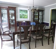I love my new royal purple and gray dining room. Behr Paint - sovereign,sonic silver, and ceiling is weathered white