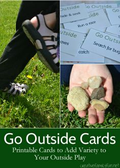 Go Outside! Cards - Creative Family Fun - Go Outside! Cards – Creative Family Fun Add some variety to your outdoor play with these free, - Nature Activities, Summer Activities For Kids, Outdoor Activities, Fun Activities, Outdoor Play Spaces, Outdoor Fun, Outdoor Games, Backyard Games, Outdoor Ideas