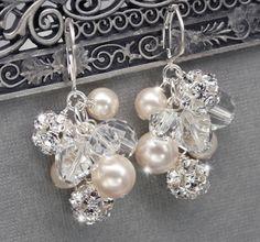 Vintage Style Bridal Cluster Earrings, Rhinestone, Pearl and Crystal Wedding Jewelry, Swarovski Bridal Earrings