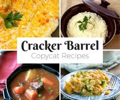 Find the best copycat Cracker Barrel recipes right here. You'll find great Cracker Barrel biscuits, chicken, hashbrowns, and more copycat recipes. Baked Mac And Cheese Recipe, Cheese Recipes, Chicken Recipes, Cooking Recipes, Baked Chicken, Cooking Ideas, Great Recipes, Dinner Recipes, Favorite Recipes