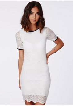 We're all about feminine influences with a vintage touch this season, with its 60s starlet vibe this LWD is a must have. We love the all over lace fabric and bodycon fit which gives a sophisticated edge. The black piping finishes it off per...