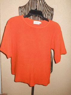 Calvin Klein Bright Orange Short Sleeves Sweater Knit Top S Small  #CalvinKlein…