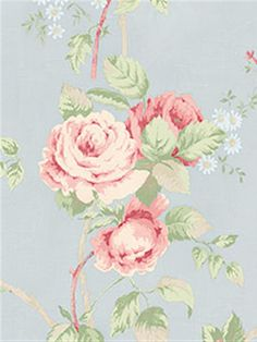 Charming blue wallpaper with pink rose print from the book Rose Garden  AmericanBlinds.com