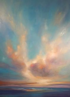 Buy Cloud Kiss, a Oil on Canvas by joanne parent from United States. It portrays: Seascape, relevant to: beach, sea, sky, blue, sun, bright, impressionist, ocean This piece was inspired by the sun just coming through the clouds overlooking the bay in New England.