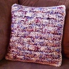 Other side of the sweater pillow. Size 13 needle, 30 sts, 56 rows. Super bulky weight cream colored yarn with a carry along yarn for color. Used the main color to crochet the pieces together around a pillow form. Super quick & cozy !