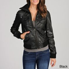@Overstock.com - Whet blu Women's Leather Bomber Jacket - Sleek and flattering in all the right places, this Whet blu jacket features long, comfortable sleeves with stretchy cuffs. With several pockets and a convenient front zipper, this fashionable jacket is the perfect addition to your wardrobe.  http://www.overstock.com/Clothing-Shoes/Whet-blu-Womens-Leather-Bomber-Jacket/8240285/product.html?CID=214117 $179.99