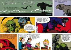 Calvin and Hobbes, March 13, 1988 - The terrible Tyrannosaurus resumes eating, mortified that someone might see him.