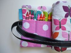butterfly crayon roll. great for birthday presents or Christmas gifts!
