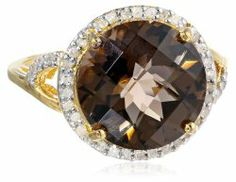 Sterling Silver with 14KT Gold Flash Smoky Quartz and Diamond Round Ring #unusualengagementrings