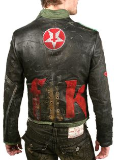 "back ""TANK"" Custom Leather Jacket - Men's JUNKER: Jransom LA, Innovative, edgy women's and men's boutique - J Ransom Clothing Store"