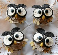 owl cup cakes-Way too cute! i'm thinkin' perfect for a bday. Allie said i definitely need to pin this! ;)