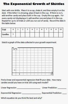Worksheet to accompany Exponential Growth and Decay stations game ...