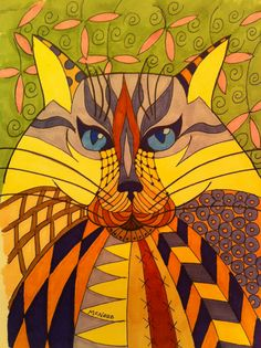 Colorful zentangle doodle Cat drawing using Copic ink markers. Size 8x10.  Cat illustration by McNabb