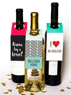 Bring these custom bottle tags to your next party, event or open house. ORDER TODAY or pin for later. Real estate, Realtor marketing ideas for farming. Match with your custom business cards for Keller williams, remax or other realtor office.