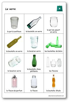 The sorting game: glass Sorting Games, French Lessons, Busy Book, Edd, Earth Day, Science And Nature, Projects For Kids, Art Education, Recycling