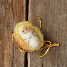 Walnut Baby with Blonde Hair - Made to Order - Needle Felted Christmas Ornament by katina