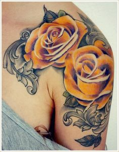 #shoulder #yellow #rose #tattoo