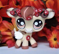 Littlest Pet Shop Chibi Pegasus cow ooak custom figure LPS Angel cherry blossom  #Hasbro