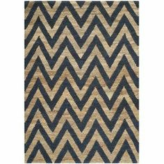Hand-knotted from jute with a striking chevron motif, this eco-friendly rug brings chic style to your decor.    Product: RugConstruction Material: JuteColor: Blue and naturalFeatures:  Hand-knotted in IndiaChevron designDimensions: 4' x 6' Note: Please be aware that actual colors may vary from those shown on your screen. Accent rugs may also not show the entire pattern that the corresponding area rugs have. Cleaning and Care: Professional cleaning recommended