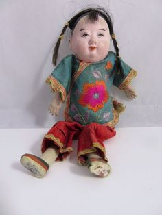 Small Vintage 1940's Composition Asian China Girl Doll Traditional Clothing #Unbranded #DollswithClothingAccessories