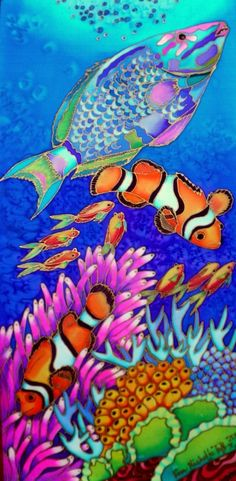 PARROTFISH OVER CORAL CARPET hand painted silk by Kim Michelle Toft - $405 available to buy at bluethumb.com.au/kimmichelletoft #decorative #art #painting