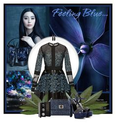 """Feeling blue"" by anna-survillo ❤ liked on Polyvore featuring Elie Saab, Anya Hindmarch, Gucci, Ted Muehling, Laura Mercier, women's clothing, women, female, woman and misses"