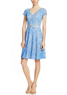 JULIAN TAYLOR Short Sleeve Lace Fit and Flare Dress with Belt | ideel