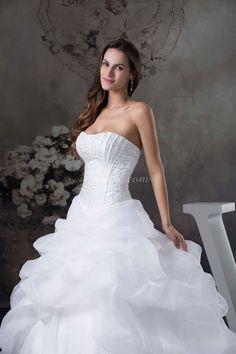 Beaded Embroidery Chapel Train Zipper Natural Waist Pick Ups Ball Gown Wedding Dress