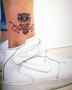 cute & small owl tattoo