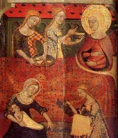 Altarpiece from the Castle of Santa Coloma de Queralt in Spain by an artist from the School of Lattagona,.c. 1365 -- Plaid Particolored short sleeved cotehardie