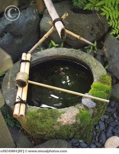 """Japanese stone basin (but I'd want one with a rocking bamboo spout, not a fixed one. I love that """"tonk"""" sound. so soothing). Japanese Garden Design, Japanese Gardens, Japanese Style, Japanese Stone Lanterns, Bamboo Fountain, Stone Basin, Japan Garden, Green Powder, Japanese Tea Ceremony"""