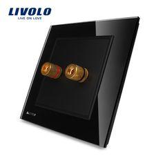 LIVOLO Home Wall Sound/Acoustics Socket/plug VL-W291A-11, Free shipping, Luxury Knight Black Crystal Glass Panel