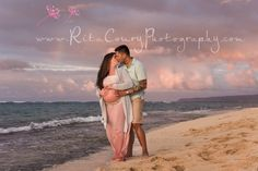 Maternity beach sunset hawaii photography session natural light no filter www.RitaCouryPhotography.com
