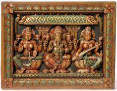 Lakshmi Ganesha and Saraswati Panel, Wood South Indian Temple Wood Carving Indian Inspired Decor, Indian Home Decor, Wood Wall Decor, Wooden Decor, Wood Sculpture, Sculptures, Mural Art, Wall Art, Ganesha Painting